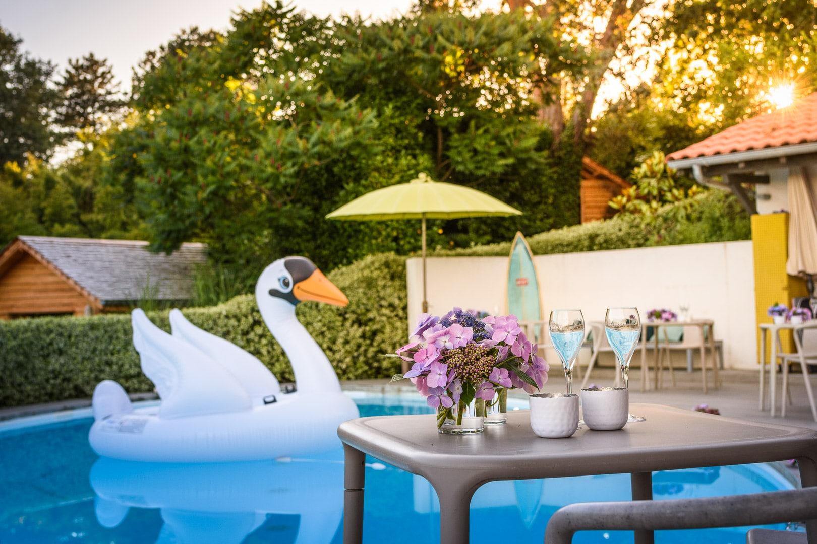 EtxeXuria-piscine fête cygne petite table