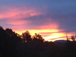 Lever de soleil ciel rose